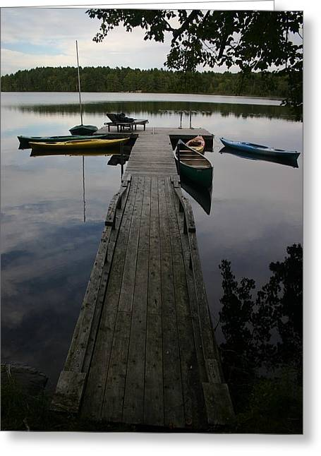 Long Walk On Dock Greeting Card by Dennis Curry