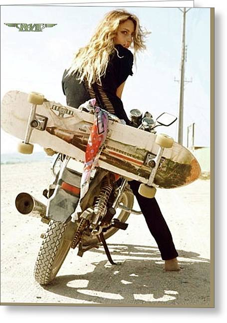 Longboard, The Motorcycle And The Girl Greeting Card