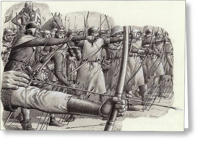 Longbowmen At The Battle Of Falkirk Greeting Card by Pat Nicolle