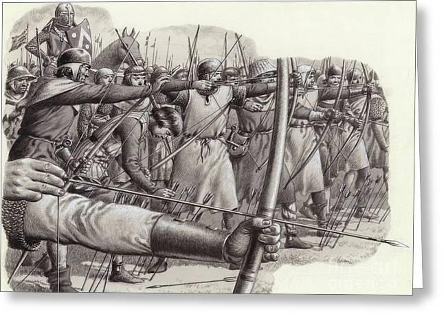 Longbowmen At The Battle Of Falkirk Greeting Card