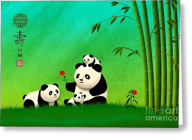 Longevity Panda Family Asian Art Greeting Card