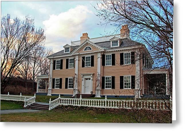 Longfellow House At Sunset Greeting Card