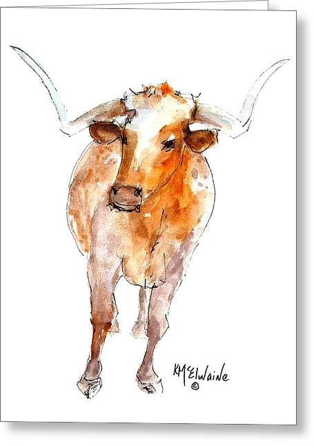 Longhorn 1 Watercolor Painting By Kmcelwaine Greeting Card