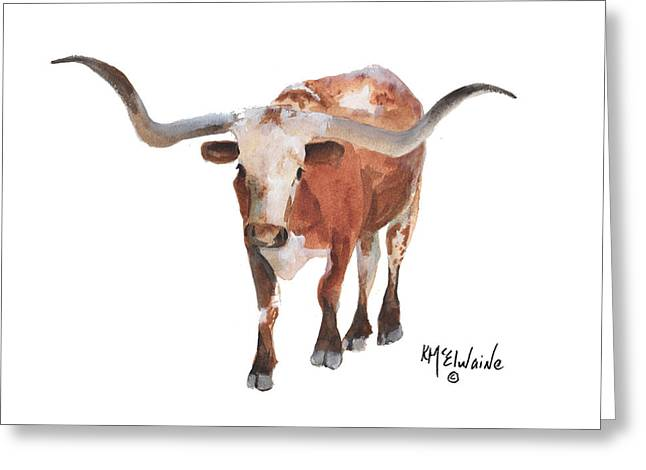 Longhorn 17 Big Daddy Watercolor Painting By Kmcelwaine Greeting Card