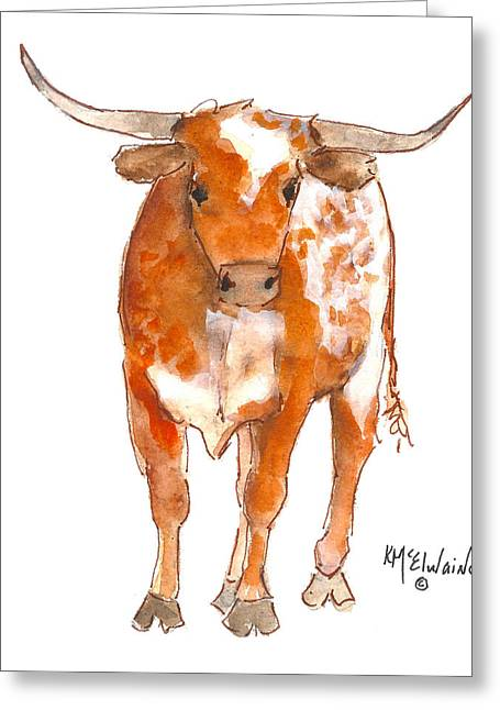 Texas Red Longhorn Watercolor Painting By Kmcelwaine Greeting Card