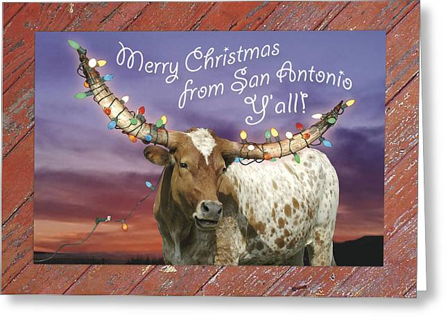 Longhorn Christmas Card From San Antonio Greeting Card by Robert Anschutz