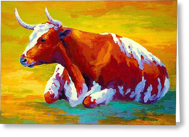 Longhorn Cow Greeting Card by Marion Rose