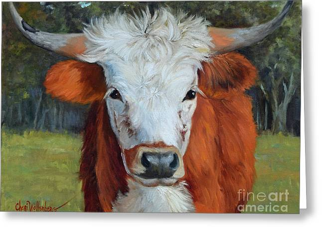 Longhorn Cow Painting II, Ms Tilly  Greeting Card