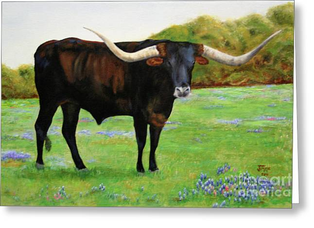Greeting Card featuring the painting Longhorn In Bluebonnets by Jimmie Bartlett