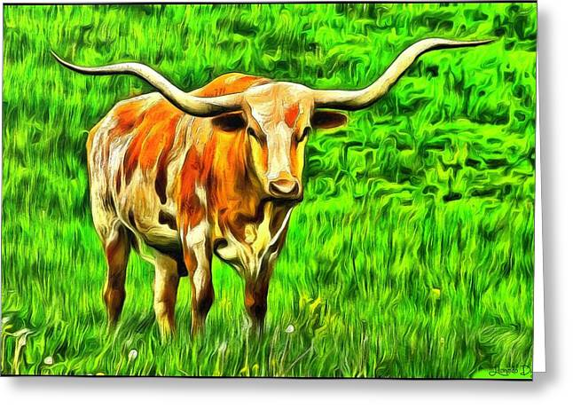 Longhorn Greeting Card by Leonardo Digenio