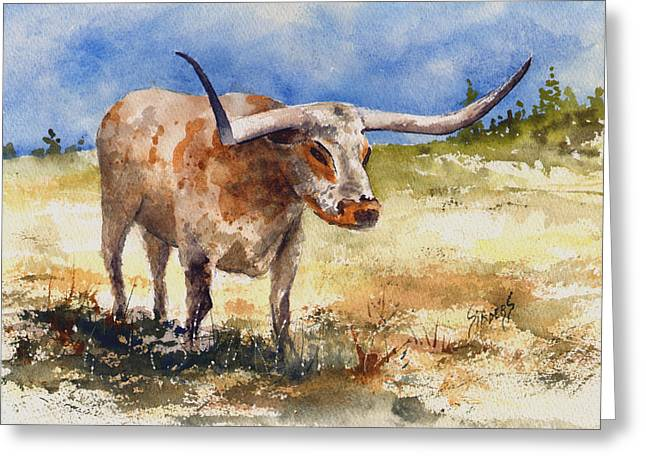Longhorn Greeting Card by Sam Sidders
