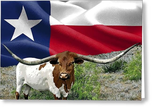 Longhorn Texas Pride Greeting Card by Daniel Hagerman