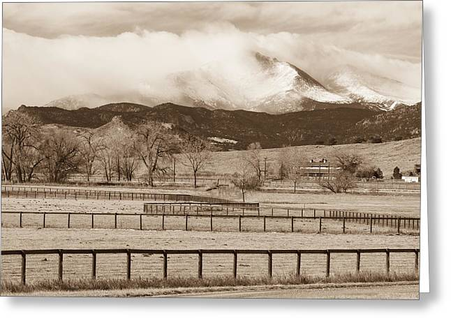 Longs Peak - Storm And Fences - Sepia Image Greeting Card by James BO  Insogna
