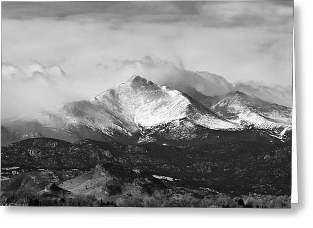 Longs Peak And A Mean Storm Greeting Card by James BO  Insogna