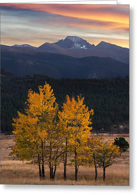Longs Peak From Moraine Park - Fall Greeting Card by Aaron Spong
