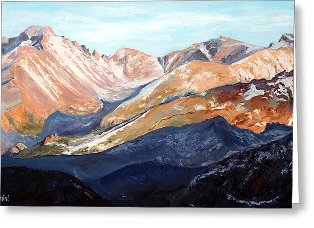 Longs Peak From Trail Ridge Road Greeting Card by Mary Giacomini
