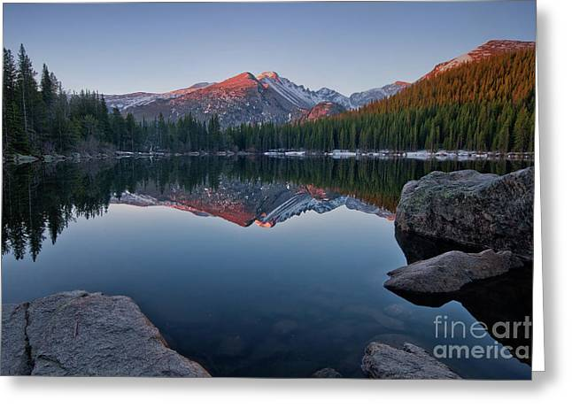 Longs Peak Reflection On Bear Lake Greeting Card