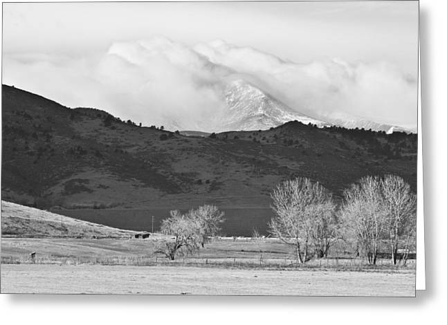 Longs Peak Snow Storm Bw Greeting Card by James BO  Insogna