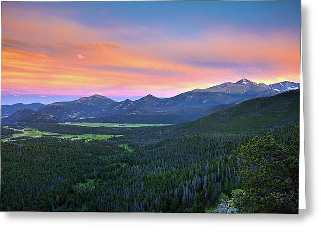 Greeting Card featuring the photograph Longs Peak Sunset by David Chandler