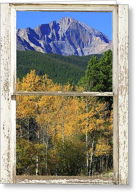 Longs Peak Window View Greeting Card
