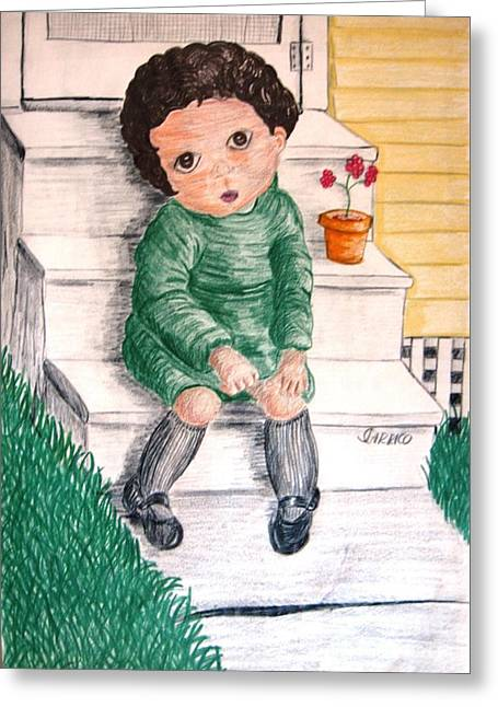 Lonley Girl On Back Step Greeting Card