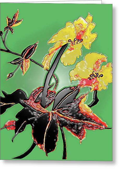Loofah Gourd Flower - Three Dimensional Greeting Card by Merton Allen