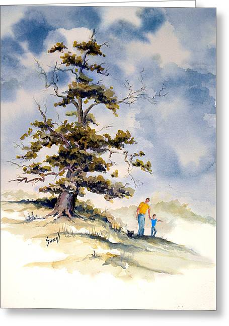 Greeting Card featuring the painting Look Dad by Sam Sidders