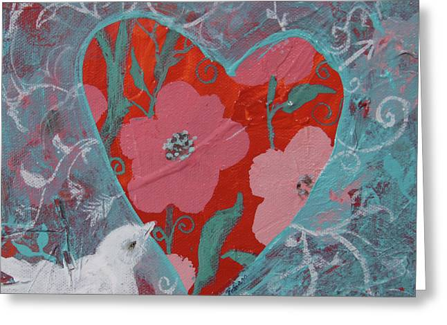 Greeting Card featuring the painting Look Into My Heart  by Robin Maria Pedrero
