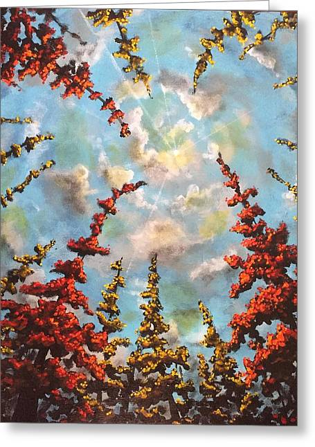 Greeting Card featuring the painting Look Through The Trees by Joel Tesch