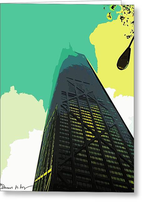 Look Up Chicago Greeting Card by Russ Harris