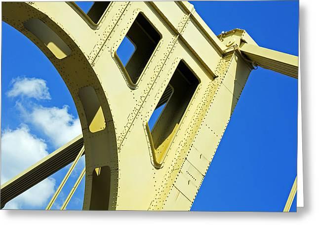 Metal Bridge Greeting Cards - Look Up Pittsburgh PA Greeting Card by Kristen Vota
