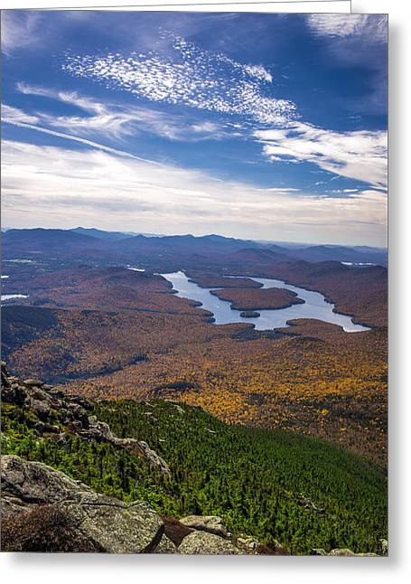 Lookin Down On Lake Placid Greeting Card by Mark Papke