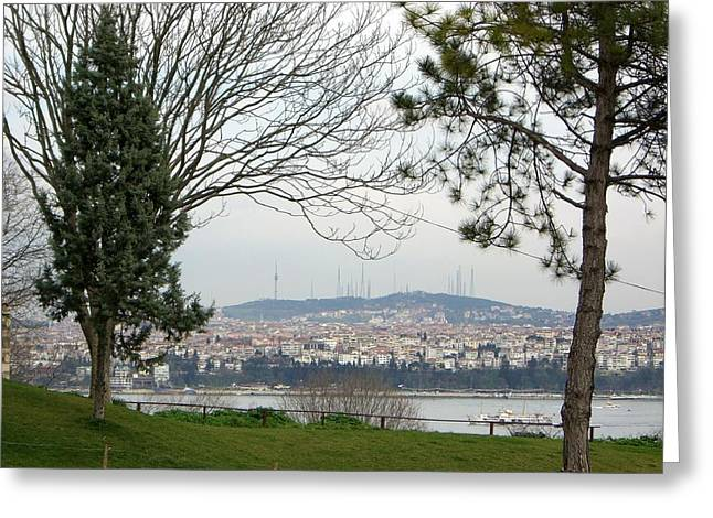 Istanbul Mixed Media Greeting Cards - Looking across from Asia to Euope  Greeting Card by Sunaina Serna Ahluwalia