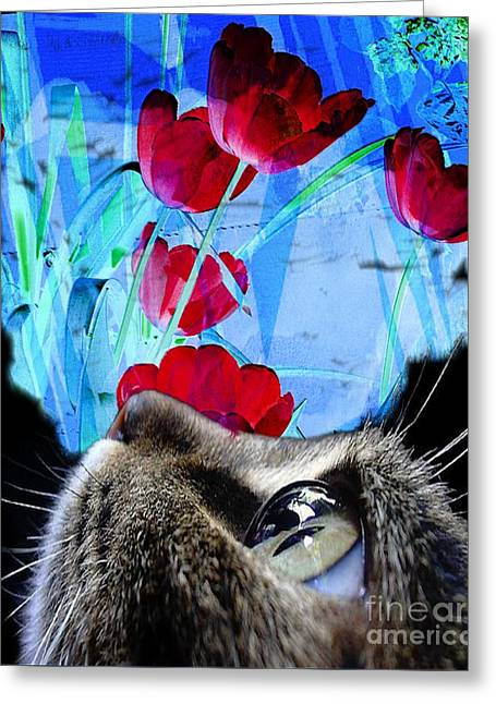 Looking At The Flowers Greeting Card by Kathleen Struckle