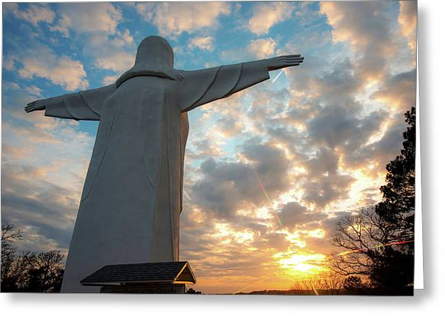 Looking At The Son - Christ Of The Ozarks Greeting Card by Gregory Ballos