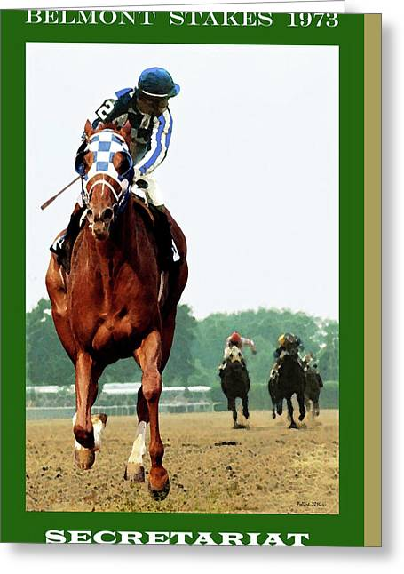 Looking Back 1 1/2 Mile Belmont Stakes Secretariat 06/09/73 Time 2 24 - Painting Greeting Card