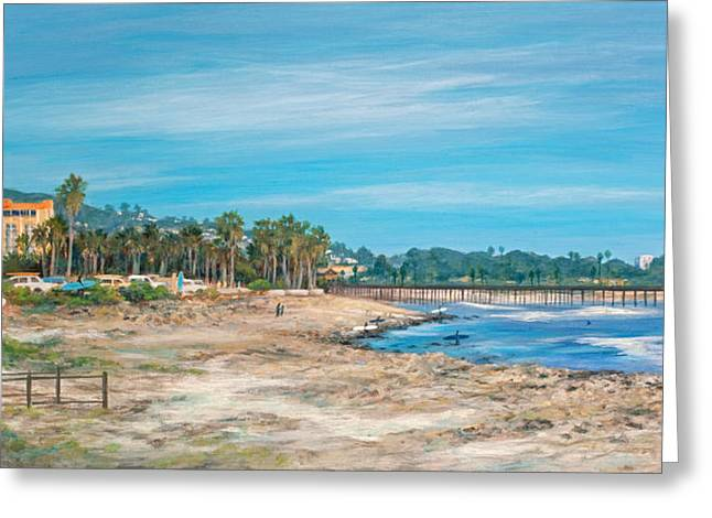 Looking Back At Surfers Point Greeting Card by Tina Obrien