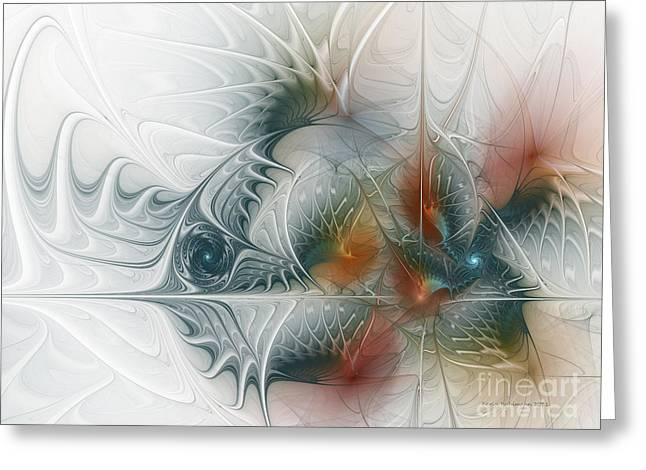 Greeting Card featuring the digital art Looking Back by Karin Kuhlmann