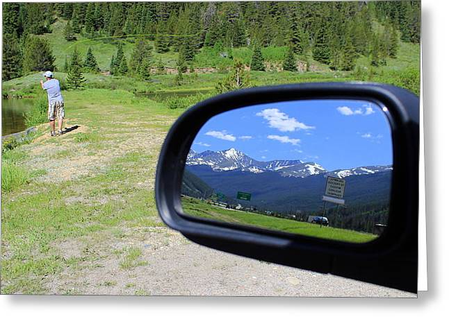 Mountain Living Looking Backward And Forward Greeting Card by Fiona Kennard