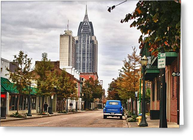 Looking Down Dauphin Street And The Blue Truck Greeting Card by Michael Thomas