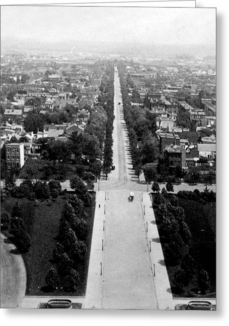 District Columbia Greeting Cards - Looking down East Capitol Street from the dome of Capitol Building - Washington DC - c 1890 Greeting Card by International  Images
