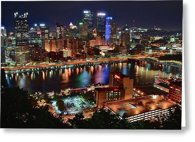 Looking Down On Pittsburgh Greeting Card by Frozen in Time Fine Art Photography