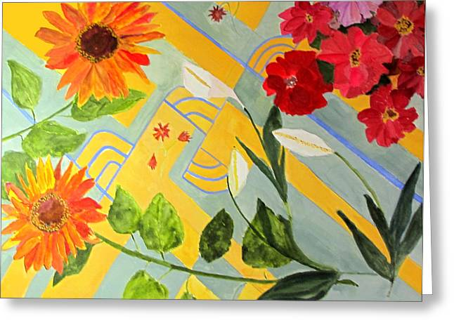 Greeting Card featuring the painting Looking Down On The Flowers On The Tile Floor by Sandy McIntire
