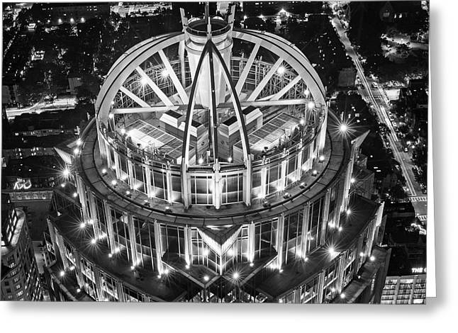 Looking Down On The Huntington Street Building Boston Ma Black And White Greeting Card