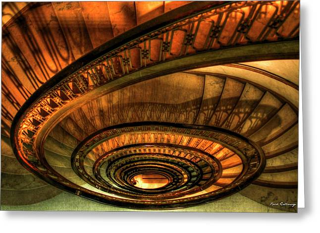 Looking Down The Ponce Spiral Staircase Atlanta Georgia Art Greeting Card