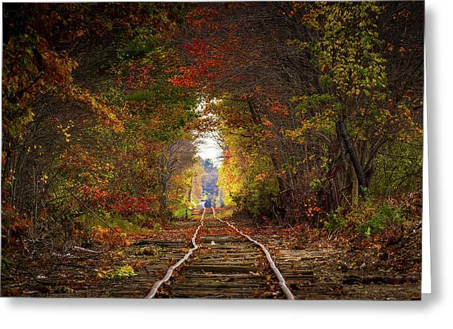 Looking Down The Tracks Greeting Card