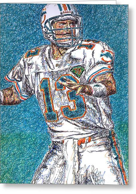 League Drawings Greeting Cards - Looking Downfield Greeting Card by Maria Arango