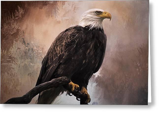 Looking Forward - Eagle Art Greeting Card by Jordan Blackstone