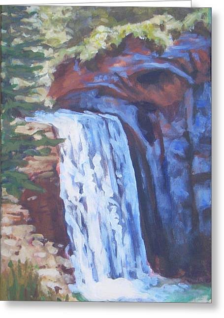 Looking Glass Falls Greeting Card by Carol Strickland