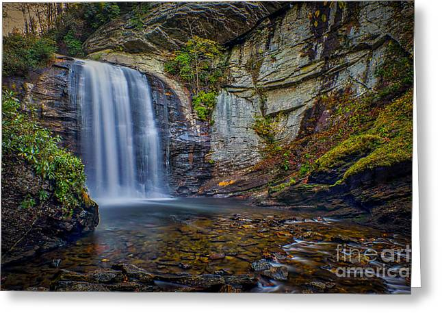 Looking Glass Falls In The Blue Ridge Mountains Brevard North Carolina Greeting Card